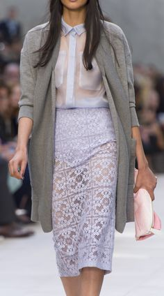 Light grey knitted cardigan jacket and The Petal on the S/S14 runway. Handmade to order from Burberry.com until 30 September 2013