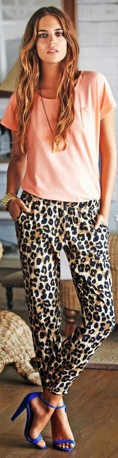 Pair a simple colored top with animal print pants for a fabulous look!