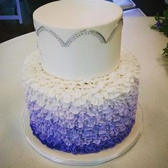 purple to white ombre buttercream ruffles bridal shower Buttercream Ruffles, Birthday Parties, Birthday Cake, White Ombre, Special Events, Bridal Shower, Cakes, Purple, Party