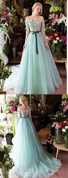 Long Evening Dress Formal Evening Dresses Ball Gown Off-the-shoulder Court Train Lace Fashion Prom Dresses #EveningDresses