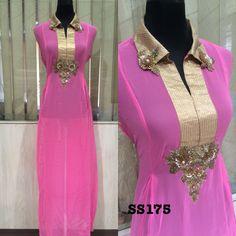 Long kurta with handwork in a stylish cut  #pink
