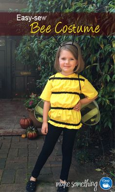 Easy-sew costume with a t-shirt + ruffled elastic. Add store-bought wings if you really want to fly! Crafts: Make an Easy-Sew Bee Costume for Kids Halloween Sewing, Halloween Kids, Halloween Crafts, Halloween 2014, Work Appropriate Halloween Costumes, Halloween Party Costumes, Fun Costumes, Diy Vinyl Bags, Little Boy Costumes