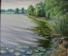 Купить Утро на Трубинке - зеленый, сиреневый, берег реки, отражение в воде, утро, пейзаж с рекой