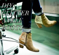 DIY Glitter Ankle Boots | Pretty Shiny Sparkly