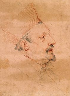 """Gian Lorenzo Bernini """"Portrait of Cardinal Borghese"""" red chalk over graphite, Villa Borghese. Portrait Sketches, Portrait Art, Art Sketches, Line Sketch, Sketch Drawing, Drawing Reference, Gouache, Bernini Sculpture, Gian Lorenzo Bernini"""