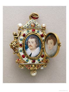 Nicholas Hilliard - Miniature portraits of unknown man and woman, Ca 1590.
