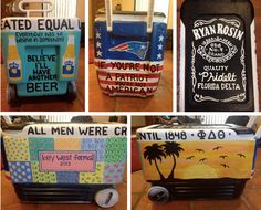 Cooler Men - Love the name in the jack Daniels photo and all men were created equal until. Fraternity Crafts, Fraternity Coolers, Frat Coolers, Sorority And Fraternity, Ut Longhorns, Another A, Cooler Painting, Prep Life, Sorority Crafts