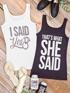"Create some laughs with punny ""That's What She Said"" engagement tees for a lighthearted take on this major life moment."