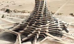 Sand Babel : Solar-power twisting skyscrapers 3D-printed with desert sand  : Inhabitat