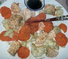 Zalm, pangasius en wortels gekookt