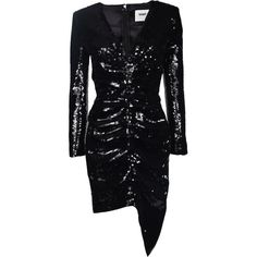 Saint Laurent Sequin Embellished Dress ($2,825) ❤ liked on Polyvore featuring dresses, black, zipper dress, yves saint laurent, sequin dresses, zip dress and long sleeve zipper dress
