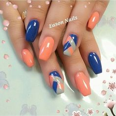 nails,nails art,nails design,orange nails,blue nails,striped | http://creativenailsideas.blogspot.com