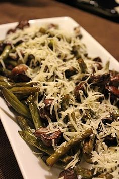 Roasted Green Beans With Mushrooms, Balsamic & Parmesan.