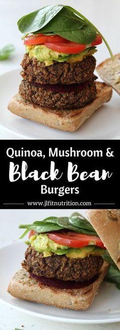 Quinoa, Mushroom and Black Bean Burgers   Vegan, gluten-free burgers made with…