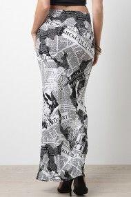 Black and White Chase Maxi Skirt