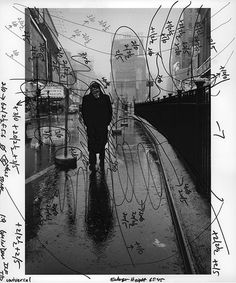 Dennis Stock's image of James Dean in Times Square, marked with Pablo Inirio's printing notations.