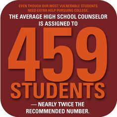 The average high school counselor is assigned to 459 students — nearly twice the recommended number — more reason to use an independent college advisor.