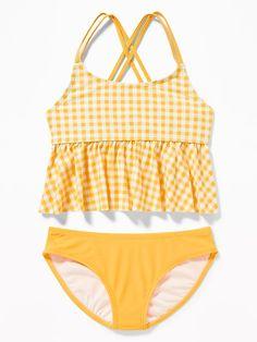 85ca1c2732 Old Navy Girls' Peplum-Hem Tankini Swim Sets Yellow Gingham Size XXL Swim  Sets