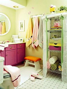 10 Little Girls Bathroom Design Ideas -   filled with an atmosphere of tales, books and cartoons, flowers, peas, Disney princess, mermaids and many other things could be used to decorate walls and furniture.