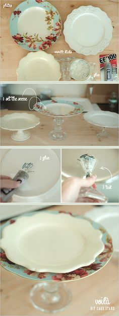 an easy way to make a cake stand or dessert plate... would be cool with red chargers from dollar tree!! Cheap, easy, and awesome!!!