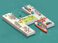 Designer Passport: A Shimmering Harbor Oasis Built From Shapes Design Isométrico, Game Design, Isometric Art, Isometric Design, Diagram Design, Graphic Illustration, Illustrations, Simple Art, Artists