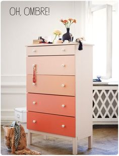 ombreee!!! my dresser looks very similar to this (but without the little margins on the side or the legs). adorable. this apricot color is exactly what i was thinking about!!