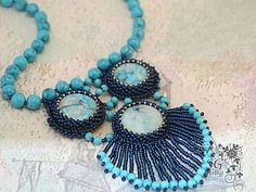 """Мастер-класс по вышивке кулона """"Голубые острова"""" - Ярмарка Мастеров - ручная работа, handmade"""