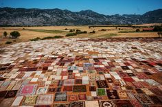 Hand made carpets, brought from varied regions of Turkey, are laid under the sun on a field to soften their color in the Dosemealti District of Turkey's Southern touristic province Antalya on July 25, 2015.