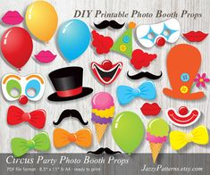 DIY Superhero party printable masks, comic book style photo booth props in red, blue, yellow, green, pink and black. This listing includes 40