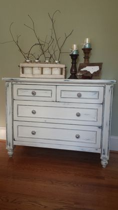 Dresser finished in Annie Sloan Old White, distressed and wax sealed