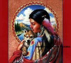 Free Native American Cross Stitch Patterns and Designs | Indian Maiden w Wolf Cross Stitch Pattern Native American ETP