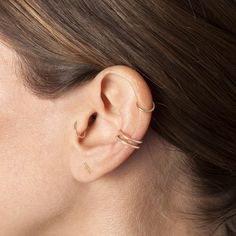 helix and tragus piercings. Possibly a double conch with hoops too, but that might be an ear cuff.