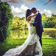 Wedding day at Chateau lagorce in France , Couple photos by the lake