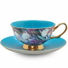 Real Turquoise Chintz Cup and Saucer with Gift Box