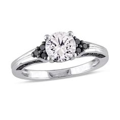 #Valentines #AdoreWe #Zales - #Zales 6.5mm Lab-Created White Sapphire and 3/8 CT. T.w. Enhanced Black Diamond Engagement Ring in Sterling Silver - AdoreWe.com
