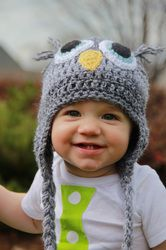 What a cutie in his Little Grey Owl Hat