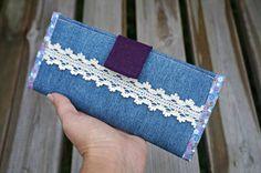 Indigo Denim Women's Fabric Wallet - Indigo Lace Fabric Wallet - Denim Wallet for Women - Indigo Organizer Wallet