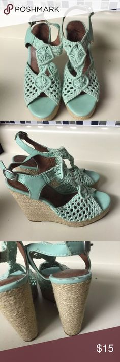 "Lucky brand Nanette green crochet wedge size 6 Cute high wedges  Size 6  Heel 5"" does have scuffing on edges. Not as bright green as originally was Lucky Brand Shoes Wedges"