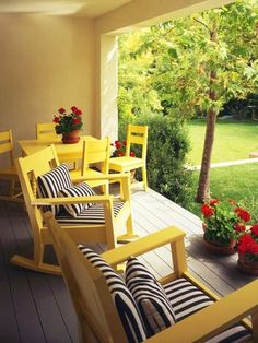 yellow chairs with black and pops of red