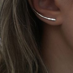 Hammered Wave Crest Ear Climbers - Silver
