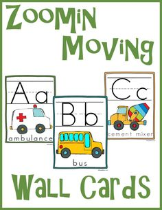 zooming moving abc wall cards 2 *Full 8 1/2 x 11 page for each letter