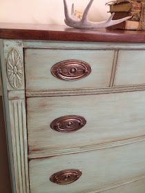 DIY:  Mahogany Dresser Tutorial - paint strippers & paint colors used to get this gorgeous finish.  Lots of before pics show what she started with, which wasn't very good!  Great post because it shows how much hidden potential this dresser had!