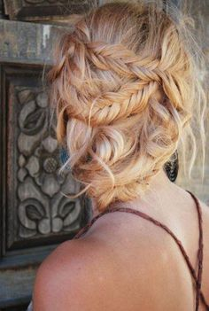 blond, braid, braids, fishtail braid, hair