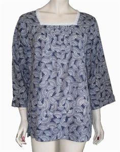 Ladies Cool Cotton Summer Tunic Top UK 20 EU 48 Navy & White Dash Kaftan