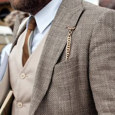 Tweed/linen and pocket watch