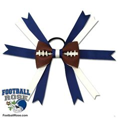 Handmade Football Hair Bow made from real football leather with Royal Blue and White ribbon accents inspired by Indianapolis football Braided Bun Hairstyles, Diy Hairstyles, Updo Hairstyle, Wedding Hairstyles, Football Hair Bows, Football Team, Messy Bun With Braid, Braided Buns, Messy Buns