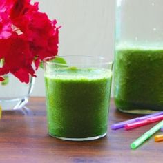 Green Smoothie - Give your immune system a healthy boost with this nutritious and yummy smoothie. 1 Ripe Banana, frozen 1 Granny Smith Apple, cored and chopped ½ Bunch Kale (about 4 leaves/slightly more than 2 cups (packed)), chopped, center ribs, and stems discard 1 Tbsp Chopped Ginger 2 Tbsp Lemon Juice 1 ½ Cups Apple Juice