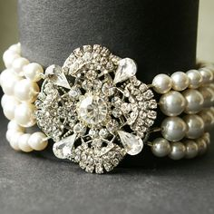 Art Deco Style Bridal Bracelet, Ivory White Pearl Wedding Bracelet, Vintage Style Bridal Jewelry, Crystal Pearl Cuff Bracelet, LOUISE