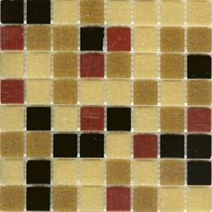 Mosaic glass tile blend modwalls beige, red and black Brio Backgammon