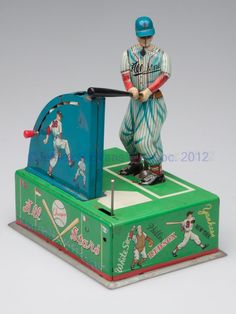 JAPANESE BATTERY OPERATED BASEBALL TIN TOY